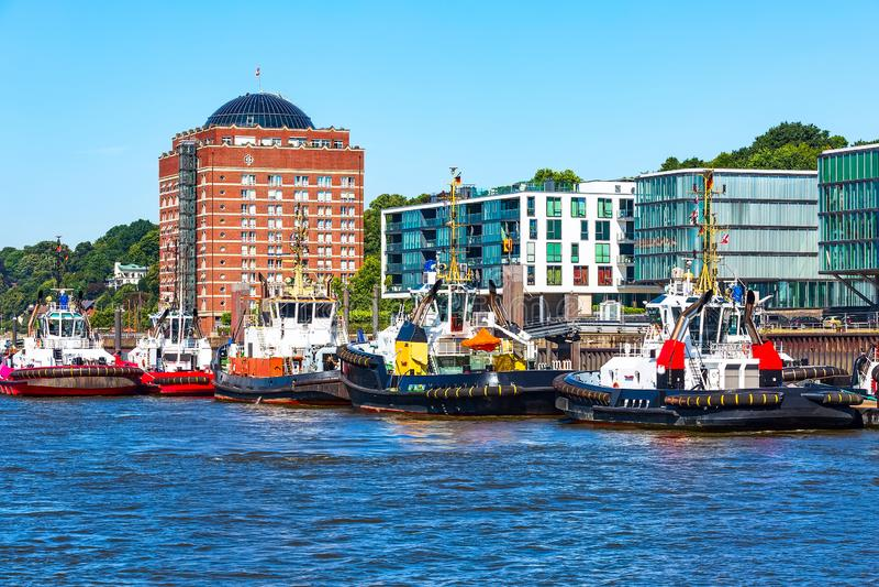 Duitsland, de horizon en rivier Elbe van Hamburg royalty-vrije stock afbeeldingen