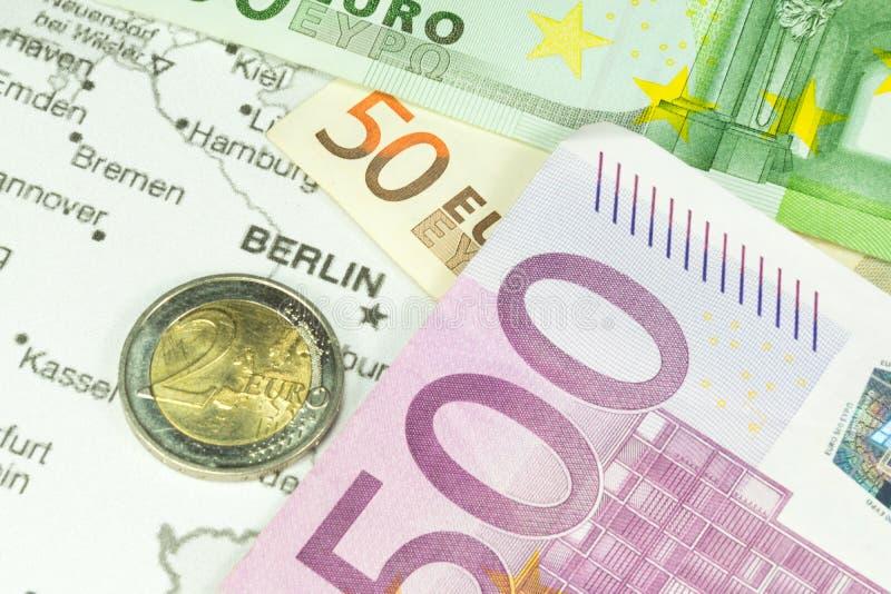 Duitsland, geld en kaart stock afbeelding