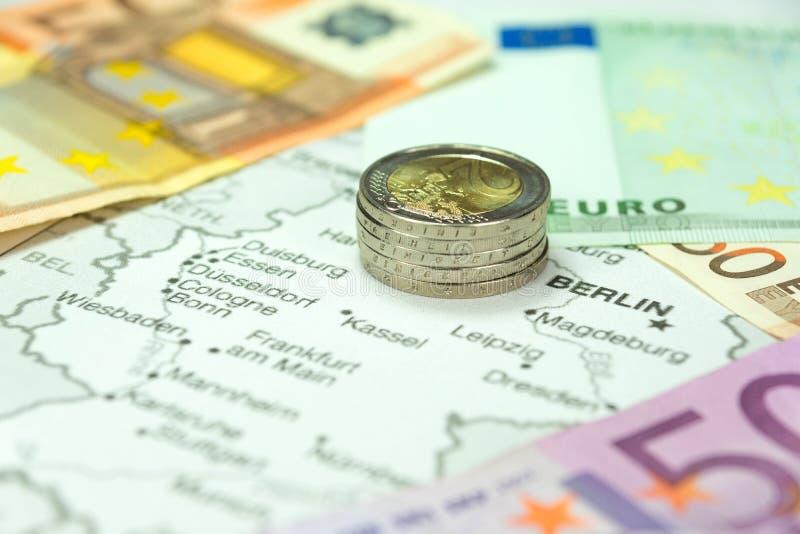 Duitsland, geld en kaart royalty-vrije stock afbeelding