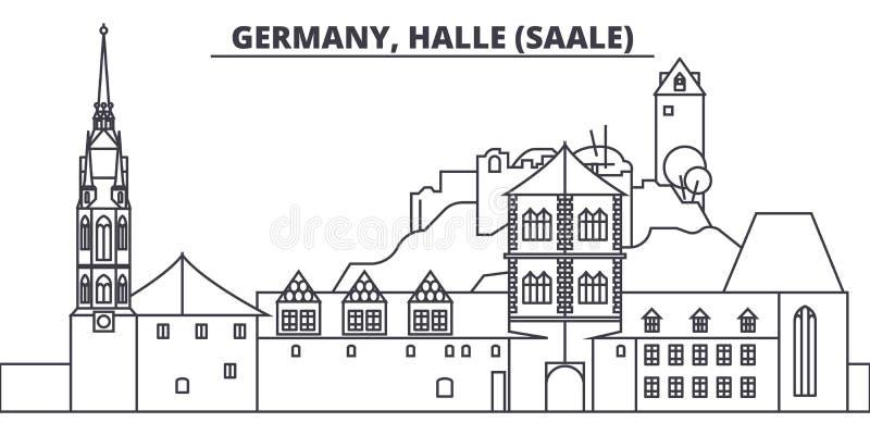 Duitsland, Halle Saale-de vectorillustratie van de lijnhorizon Duitsland, lineaire cityscape van Halle Saale met beroemde oriënta royalty-vrije illustratie
