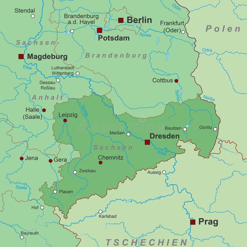 Duitsland - Kaart van Duitsland - 'Saksen '- hoog gedetailleerd royalty-vrije illustratie