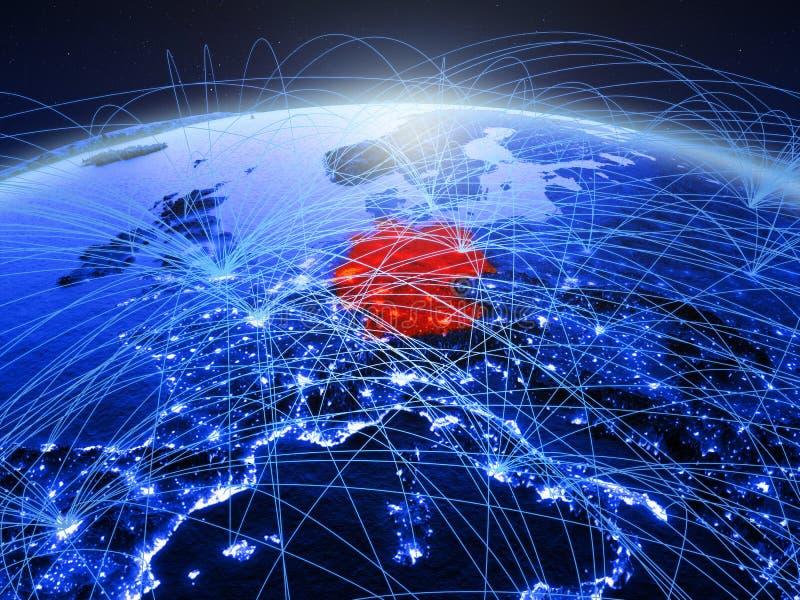 Duitsland op blauwe digitale aarde met internationaal netwerk die mededeling, reis en verbindingen vertegenwoordigen 3d stock foto's