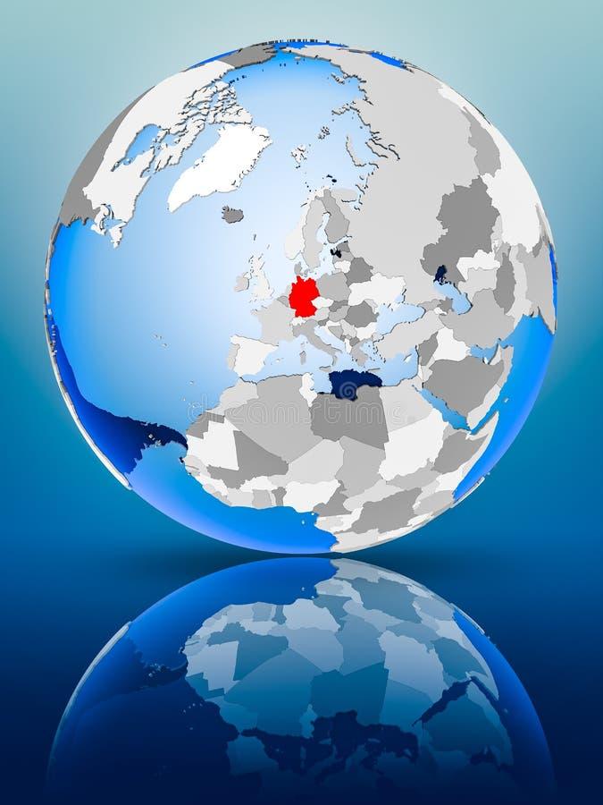 Duitsland op bol vector illustratie
