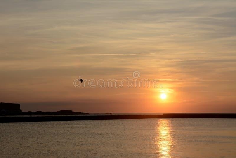 Duitsland, Sleeswijk-Holstein, Heligoland, Noordzeekust bij zonsondergang stock afbeeldingen
