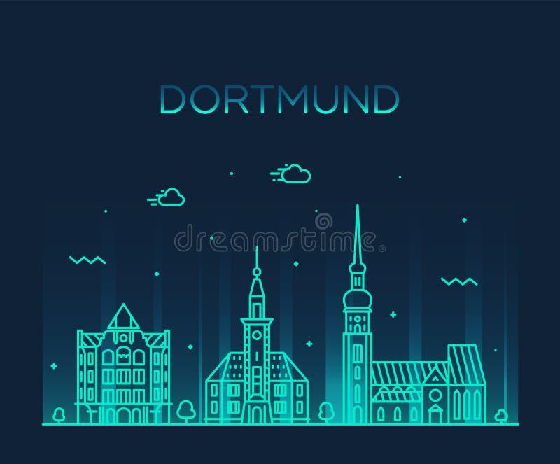 Duitsland van de horizonrijn Westfalen van Dortmund een vector vector illustratie