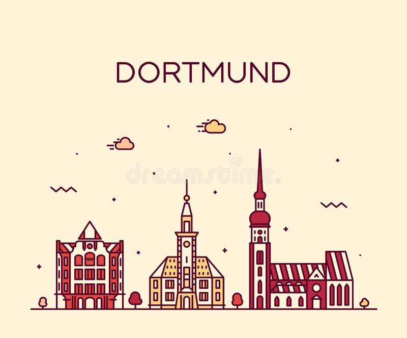 Duitsland van de horizonrijn Westfalen van Dortmund een vector stock illustratie