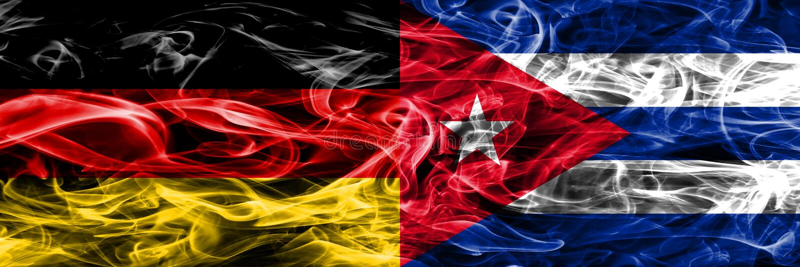 Duitsland versus zij aan zij geplaatste de rookvlaggen van Cuba Duits en Cuba stock illustratie