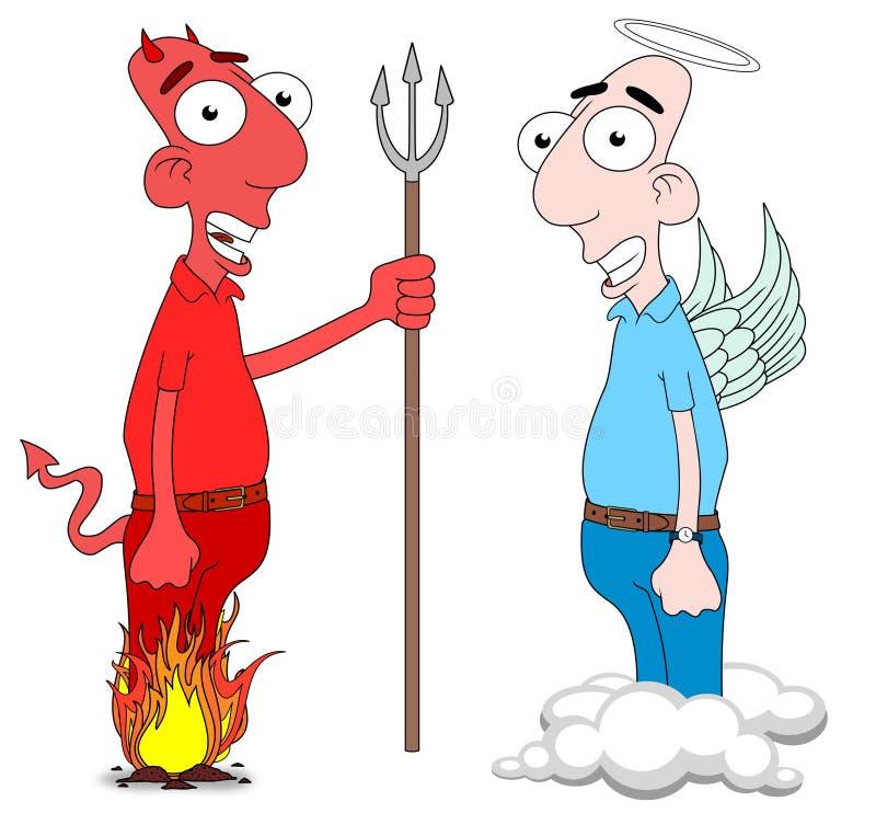 Duivel en Engel stock illustratie