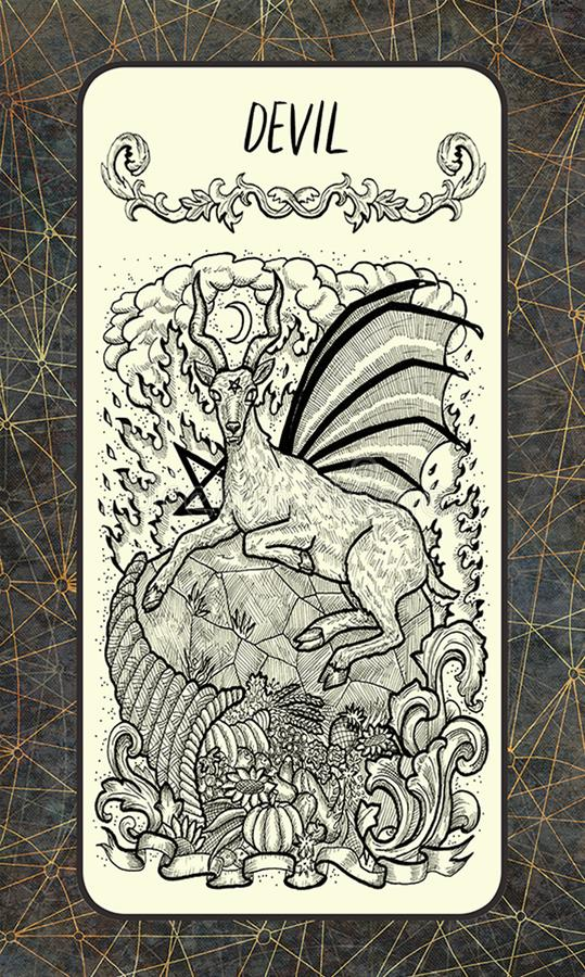 Duivel Major Arcana Tarot Card royalty-vrije illustratie