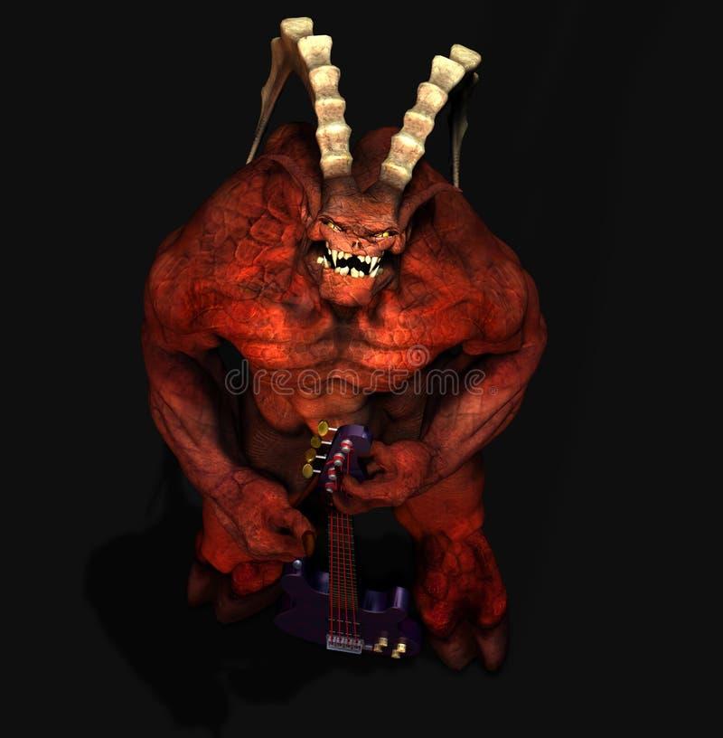 duivel met gitaar stock illustratie