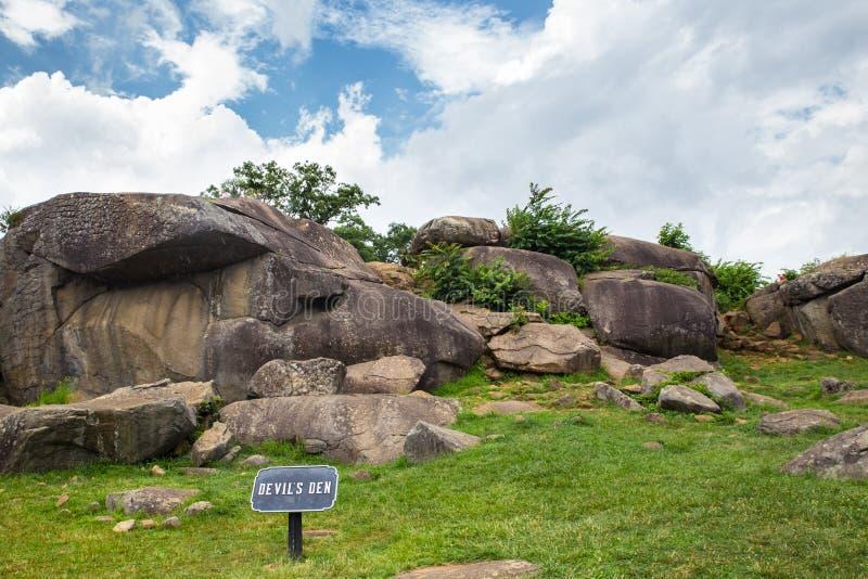 Duivels Den Gettysburg royalty-vrije stock afbeelding