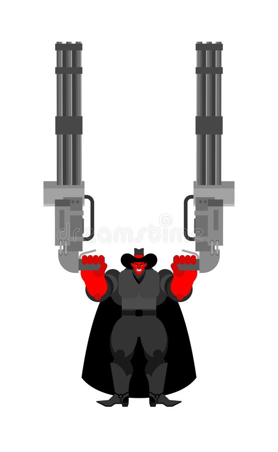 Duivels kwade Cowboy en Minigun Het Demon van Wilde Westennen gunfighter Boze Westelijke daemon stock illustratie