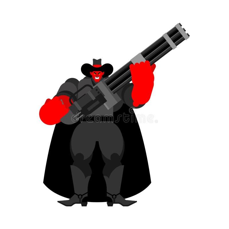 Duivels kwade Cowboy en Minigun Het Demon van Wilde Westennen gunfighter Boze Westelijke daemon vector illustratie