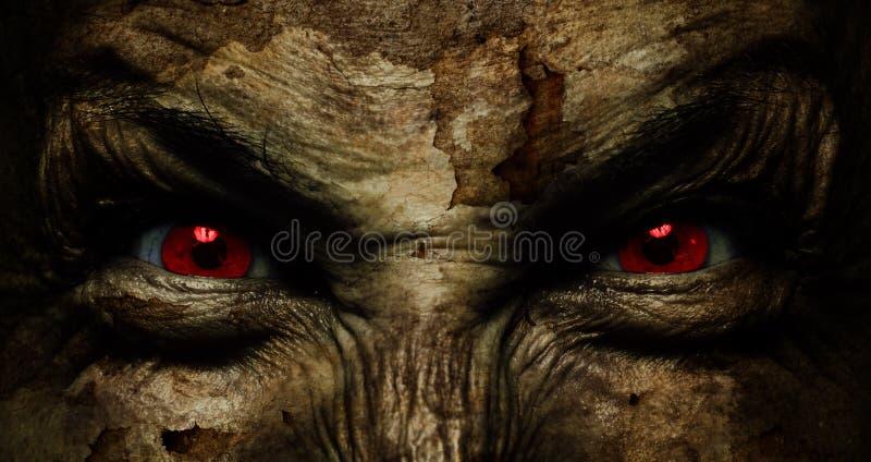 Duivels lelijk gezicht stock afbeeldingen