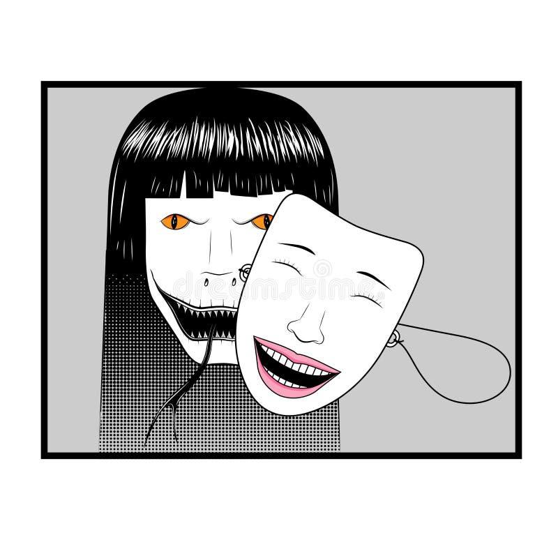 Duivels` s gezicht die een helder vrouwenmasker dragen om te bedriegen Schijnheiligheid e royalty-vrije illustratie