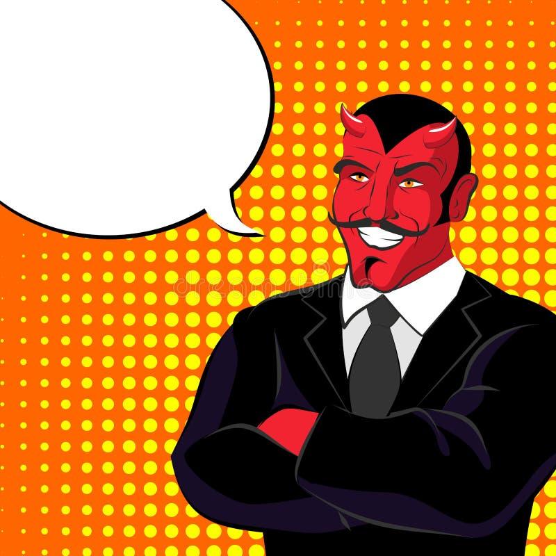 Duivelspop-art Rode gehoornde demonl en tekstbel Satanlach stock illustratie