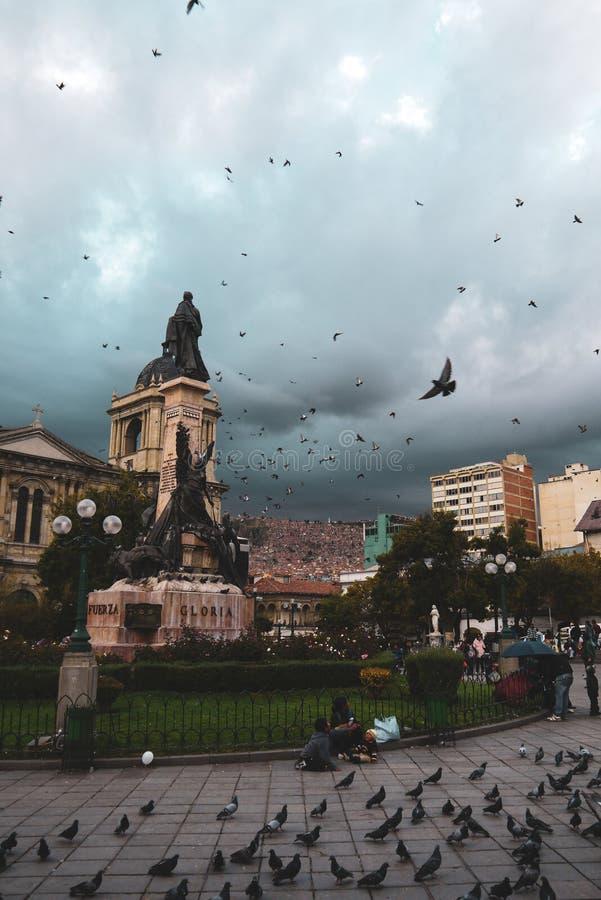 Duiven die boven Plein Murillo in Bolivië vliegen royalty-vrije stock foto's