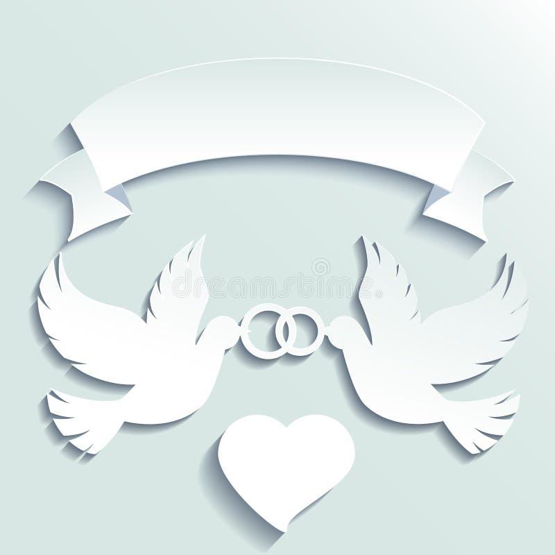 Duiven die trouwringen houden vector illustratie