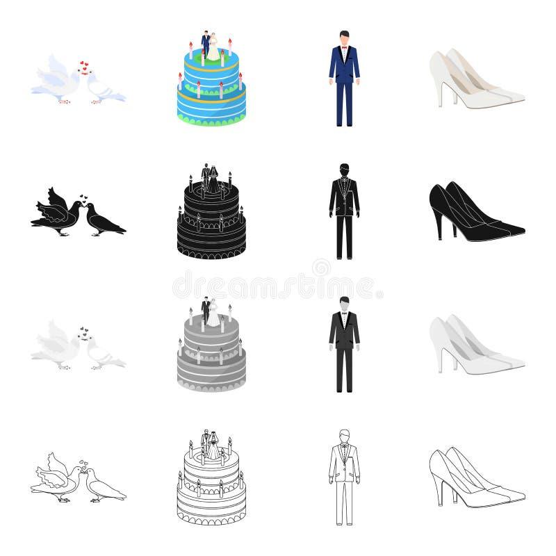 Duiven, huwelijkscake, bruidegom, bruids schoenen Pictogrammen van de huwelijks de vastgestelde inzameling in stijl van het beeld vector illustratie