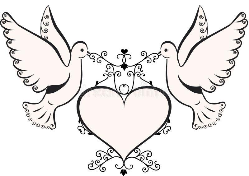 Duiven met hart stock illustratie