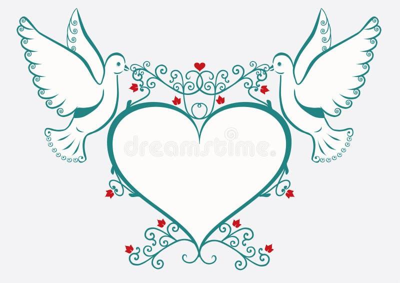 Duiven met hartframe vector illustratie