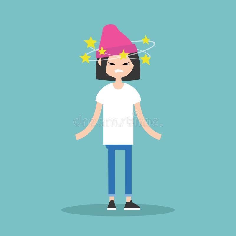 Duizeligheid conceptuele illustratie Jong donkerbruin meisje met ster royalty-vrije illustratie