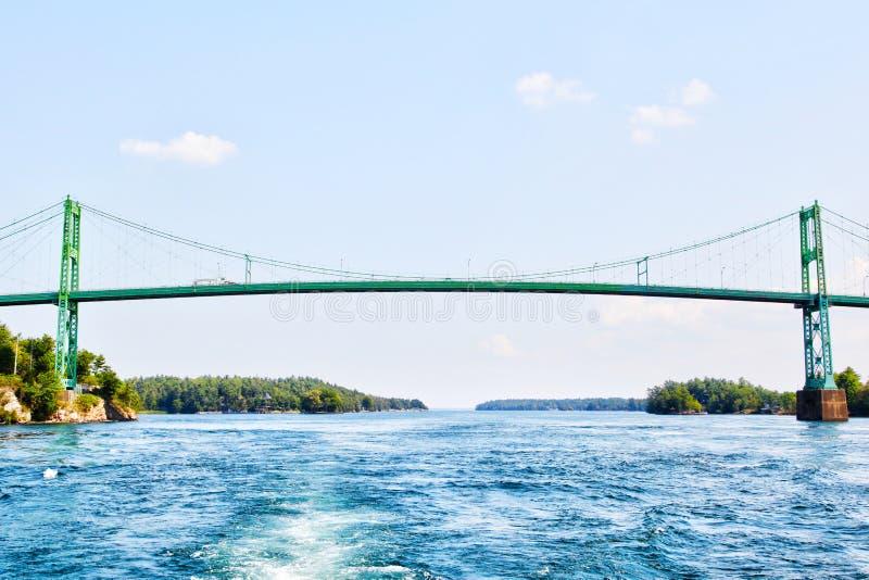 Duizend Eilanden Internationale Brug over Heilige Lawrence River stock foto's