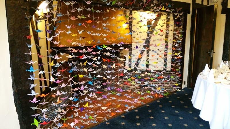 Duizend origamikranen royalty-vrije stock foto's