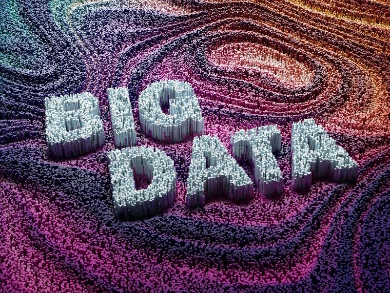 Duizendengrafieken die woorden grote gegevens vormen stock afbeeldingen