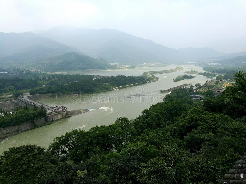 Dujiangyan and Lijiang. The landscapes of Dujiangyan, Chengdu, China, form a poetic landscape painting. Here, Li Bing and his sons control the flood royalty free stock photography