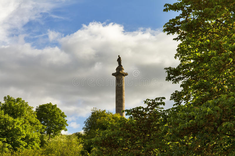 The Duke of Gordon in summer. This is a large monument in honour of the Duke of Gordon which is on the very top of Ladyhill, Elgin, Moray, Scotland. This is the stock image