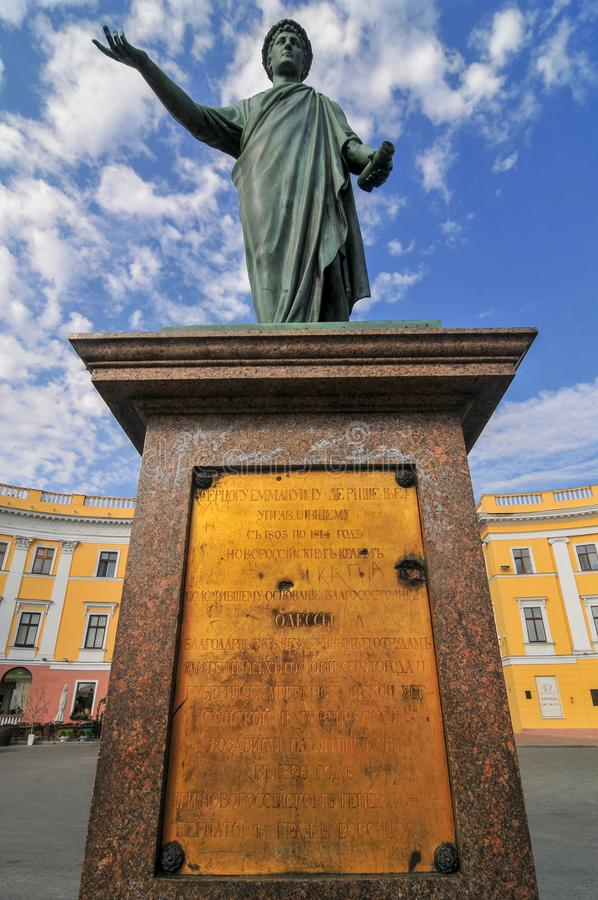 Statue of Duke Richelieu - Odessa, Ukraine royalty free stock images