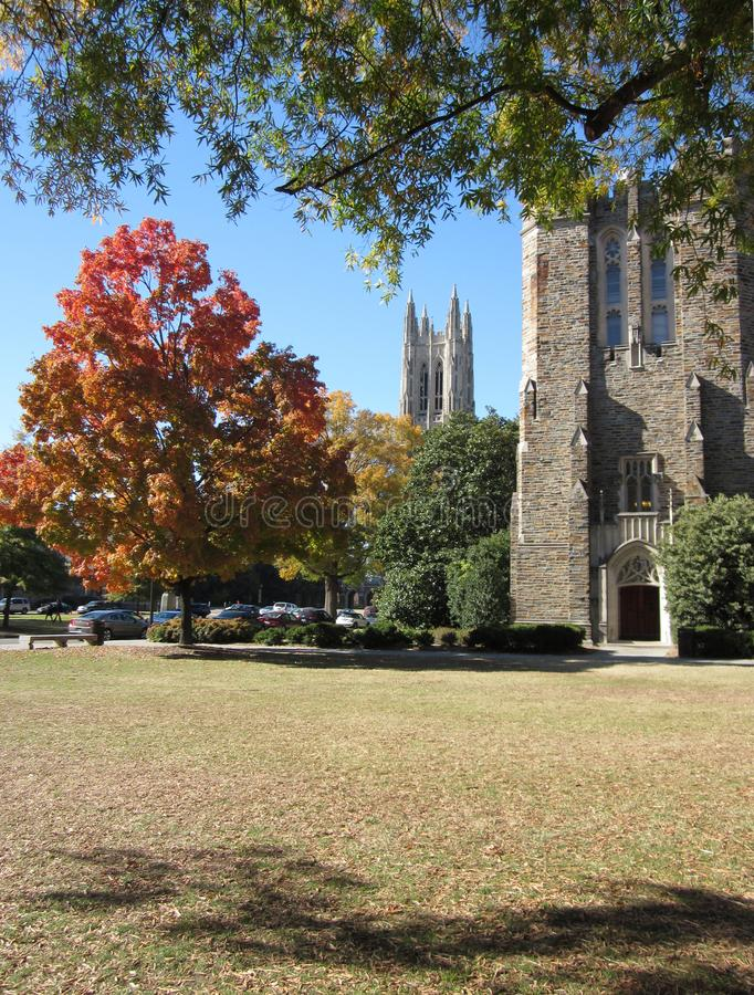 Duke University in the Fall of 2010. Duke University Campus in the Fall of 2010 with the Landmark Tower in the Background royalty free stock photos