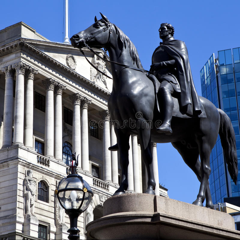 Duke of Wellington Statue and the Bank of England royalty free stock images
