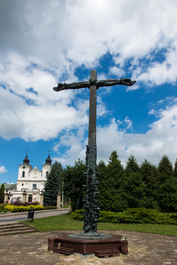 Dukla, Poland - July 22, 2016: Cross reconciliation entwined ha. Nds pleading wreath consecrated by Pope John Paul II in honor of those who died in the Second stock photos