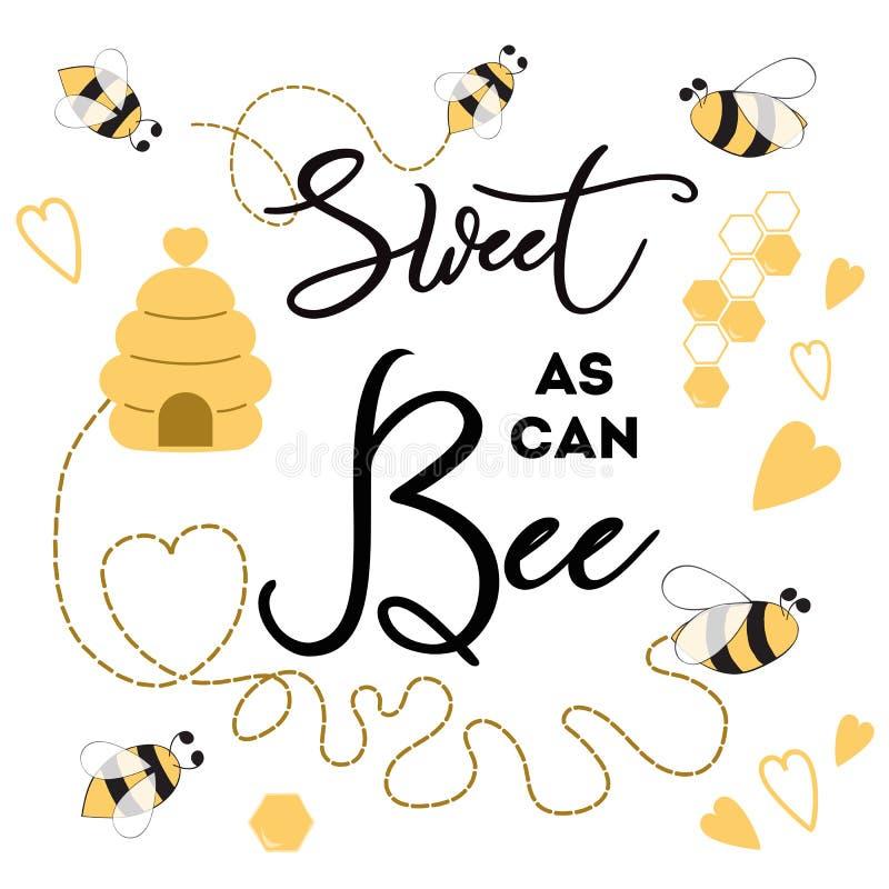 Dulce al igual que la abeja de la bandera de la abeja en el diseño lindo de la bandera del fondo blanco para el cumpleaños de los libre illustration