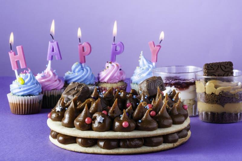 Fine Birthday Cake Ober Purple Background Stock Photo Image Of Personalised Birthday Cards Beptaeletsinfo