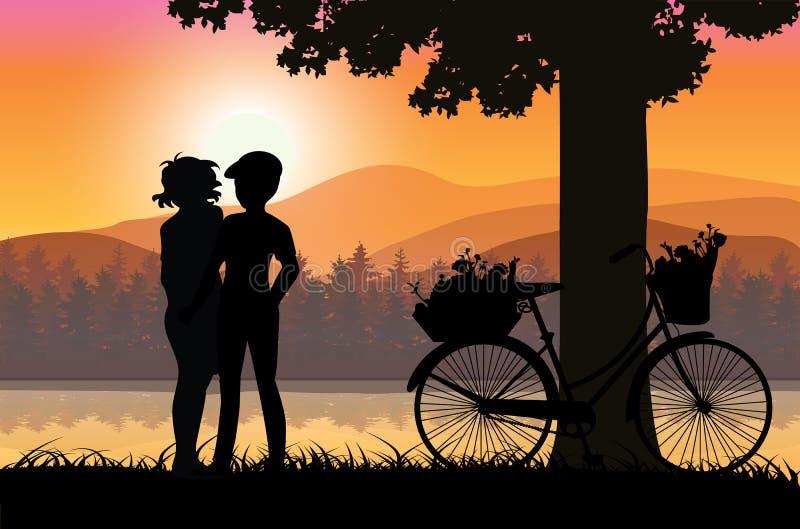 Dulce del amor en la puesta del sol, ejemplos del vector ilustración del vector