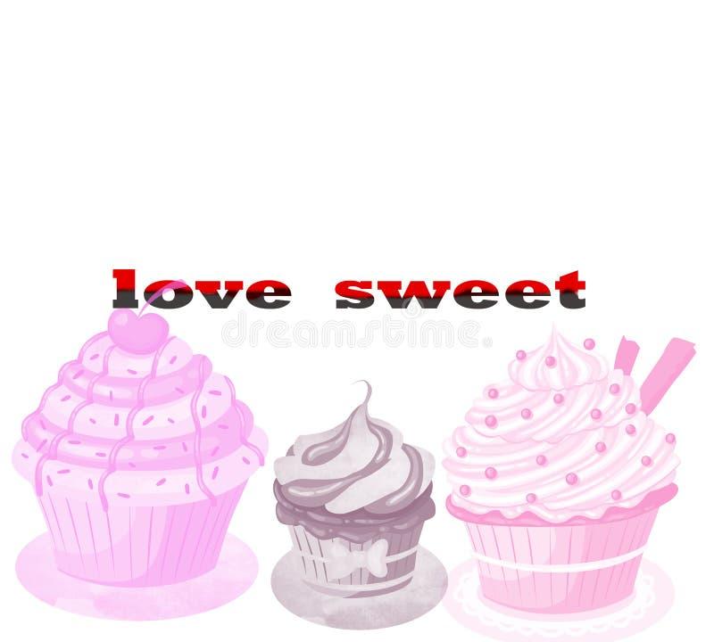 Dulce del amor Los iconos planos de los caramelos dulces fijados en la forma del círculo con los chocolates clasificados aislaron ilustración del vector