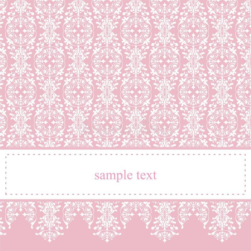 Dulce, tarjeta rosada elegante del cordón o invitación ilustración del vector