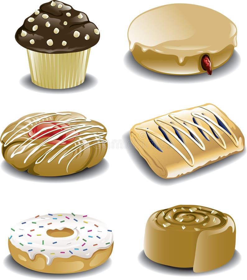 Dulces clasificados del desayuno ilustración del vector
