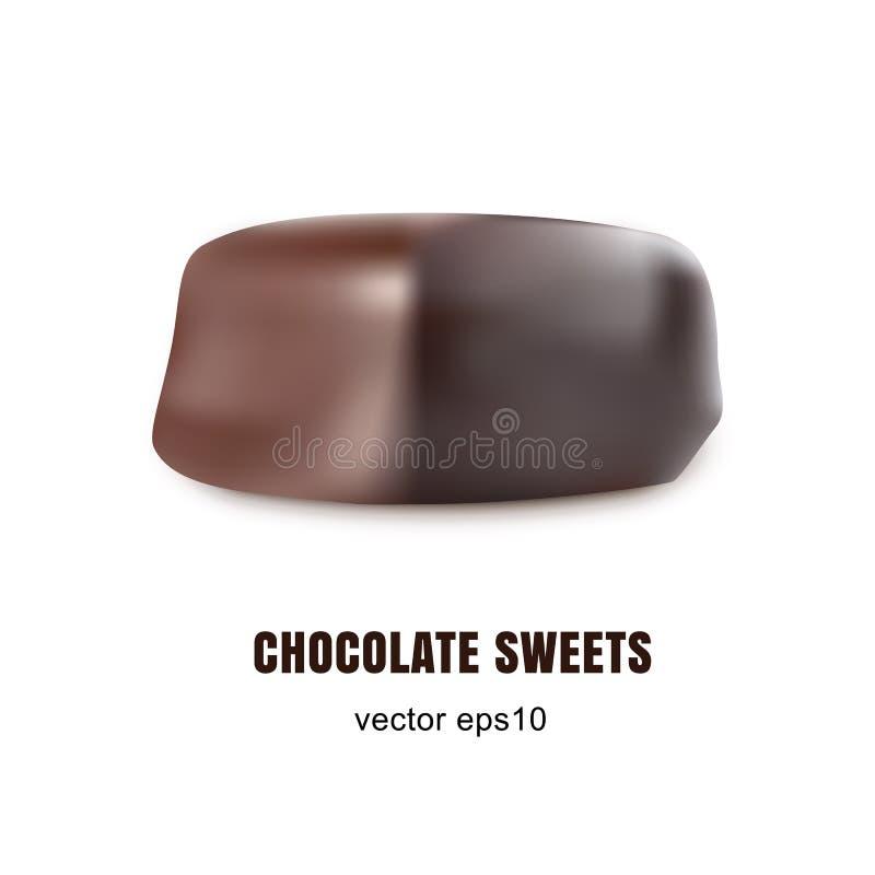 Dulces creativos hermosos del chocolate del vector aislados en el fondo blanco ilustración del vector