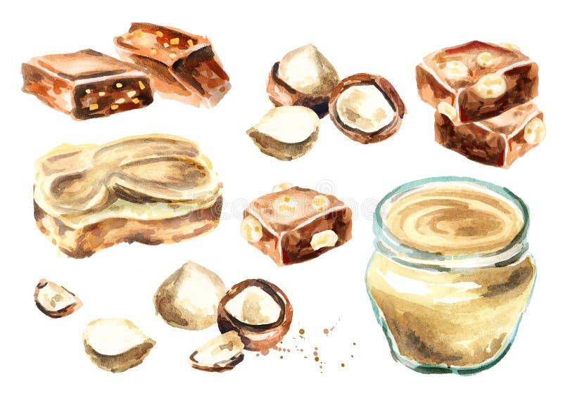 Dulces de la macadamia fijados con mantequilla y chocolate Ilustración de la acuarela libre illustration