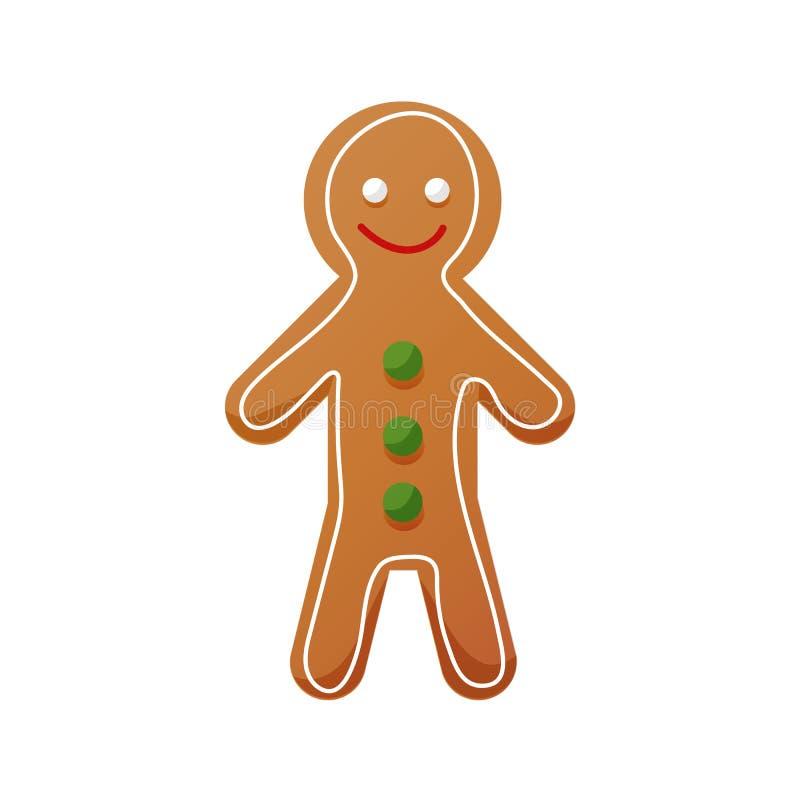 Dulces de la Navidad, comida, icono dulce del pan de jengibre Pasteles hechos en casa para el té ilustración del vector