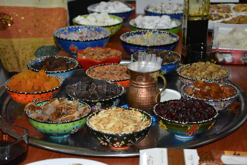 Dulces de Turquía Frutas secadas sabrosas foto de archivo