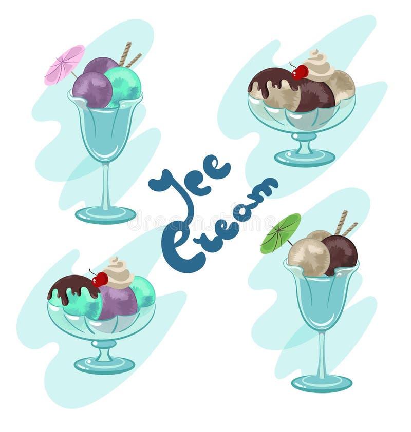 Dulces de verano del helado stock de ilustración
