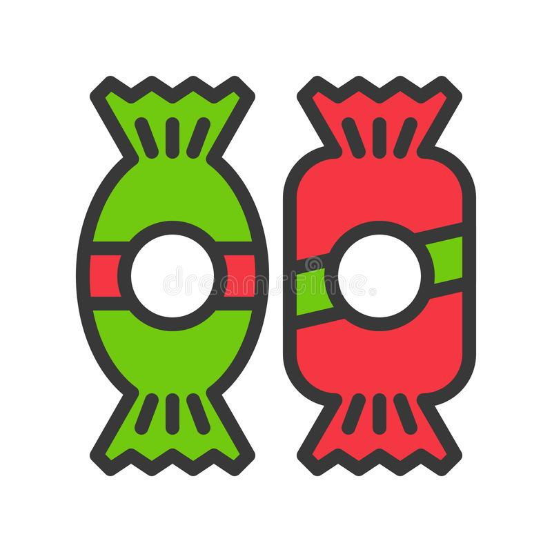 Dulces del caramelo en icono del tema de Navidad esquema editable libre illustration