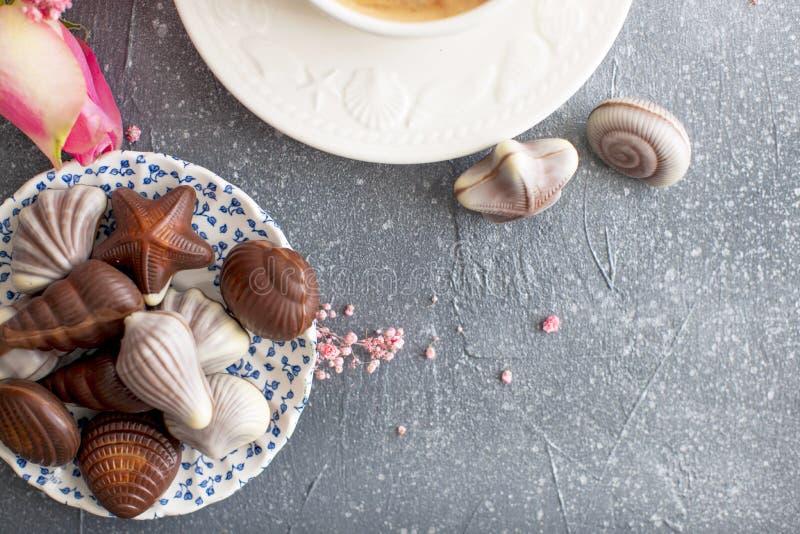 Dulces del chocolate bajo la forma de conchas de berberecho Cáscaras en una placa Romance y colores claros Buenos días postal Lug fotos de archivo