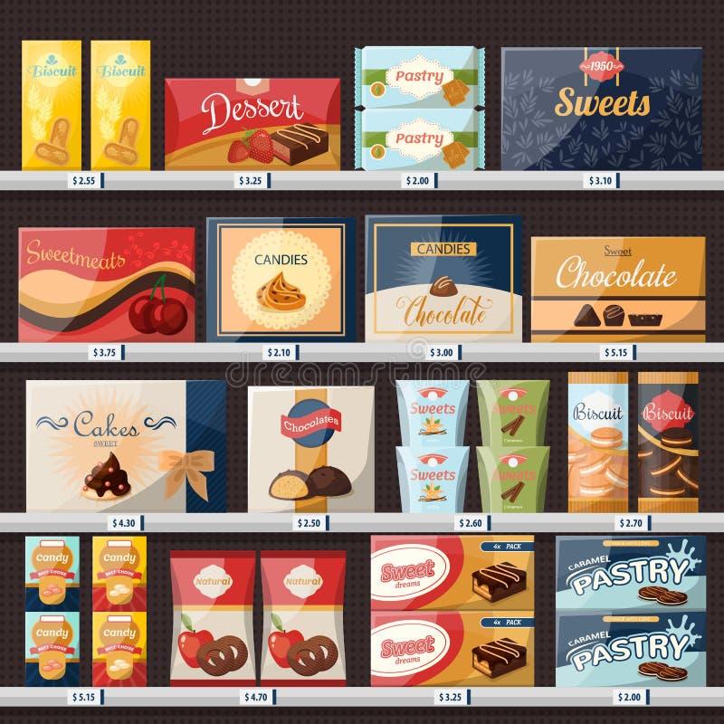 Dulces en el escaparate de la tienda o de la tienda con los caramelos stock de ilustración