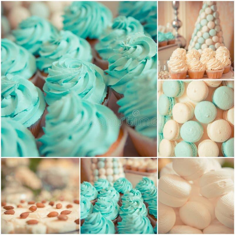 Dulces en la tabla de la boda Color del vintage fotografía de archivo